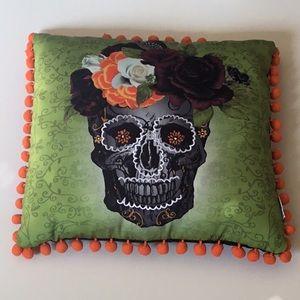 Halloween Pillow with Pom Pom detail Flower skull